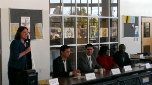 Assembly candidates Elizabeth Echols, Sam Kang, Andy Katz, Pamela Price, and Tony Thurmond.